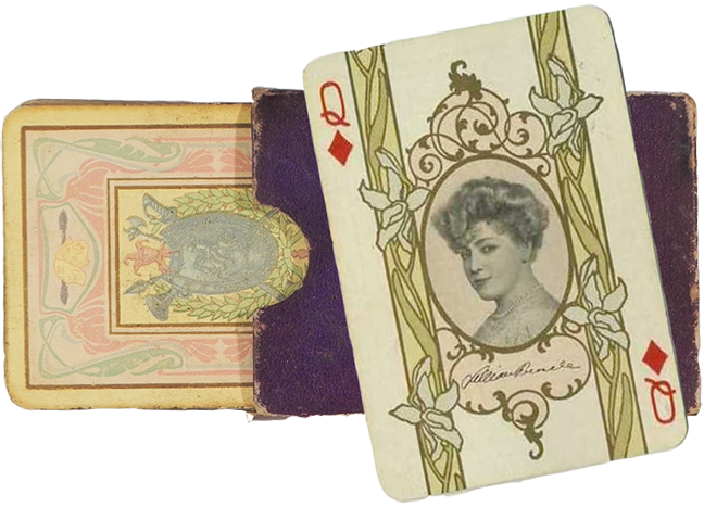 card deck with theatrical actors