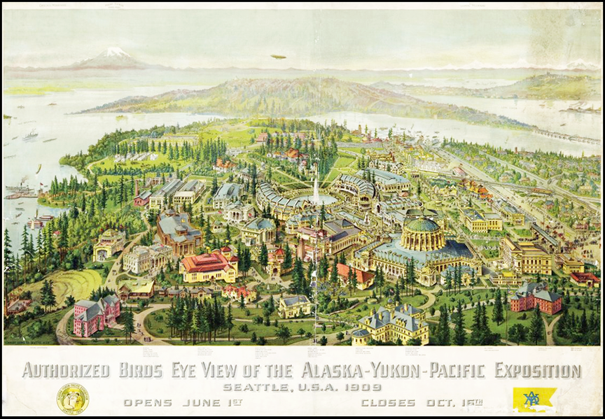 Rendering of a bird's-eye view of the 1909 World's Fair in Seattle
