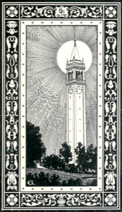 "Illustration of the Campanile, from the 1922 ""Blue and Gold"" Yearbook"