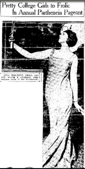 """Miss Maurine Bell, who will sustain a character symbolizing Sight in the Partheneia."" – ""Oakland Tribune,"" April 6, 1920"