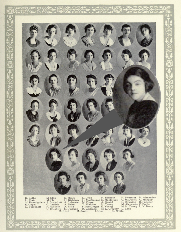 Ursula's photo is among the Zeta Tau Alpha member portraits for the academic year 1919-1920