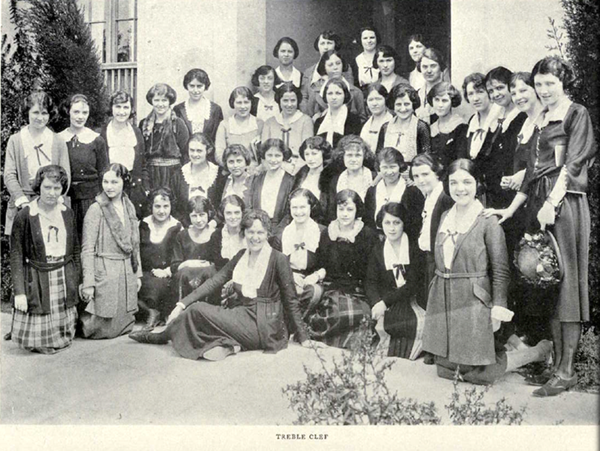 In her junior year, Ursula (pictured kneeling at far right) served as vice president of the Treble Clef Society, a women's choral group that produced an annual musical comedy