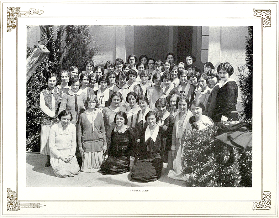 The Treble Clef Society — senior Ursula is in the front row, third from left