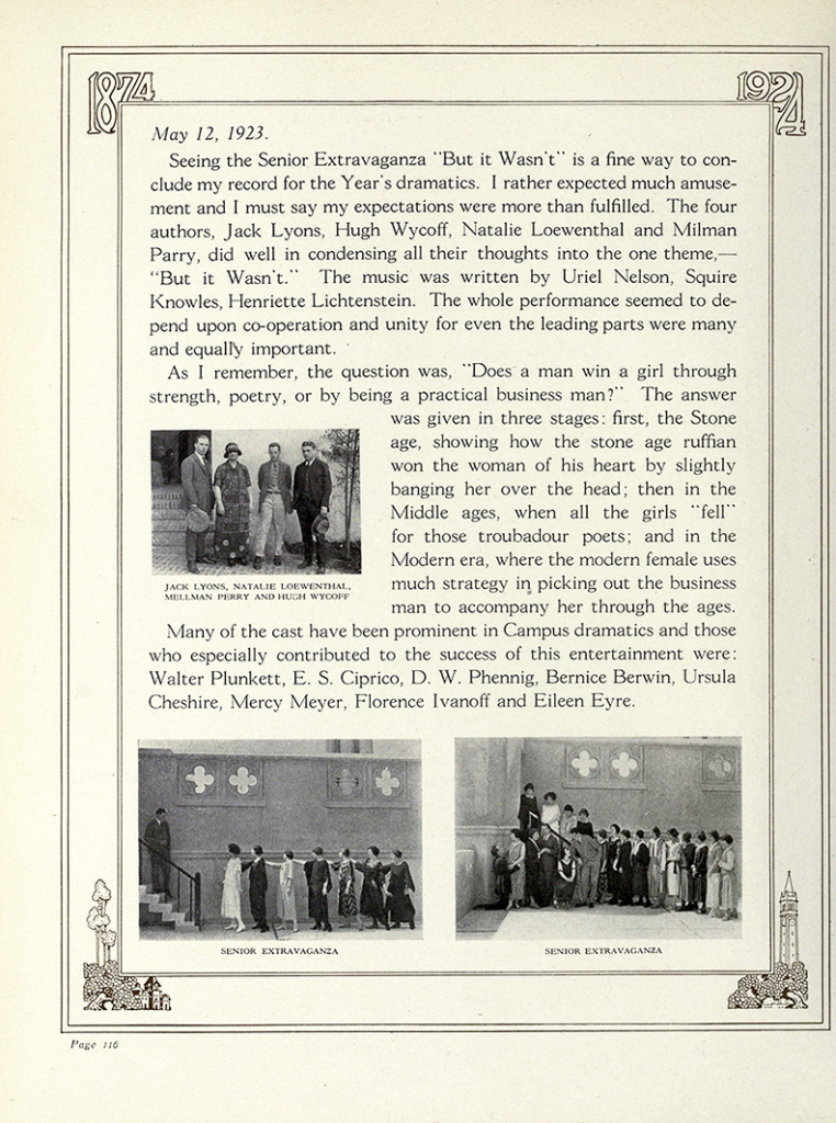 """Blue and Gold"" yearbook write-up of the 1923 Senior Extravaganza"