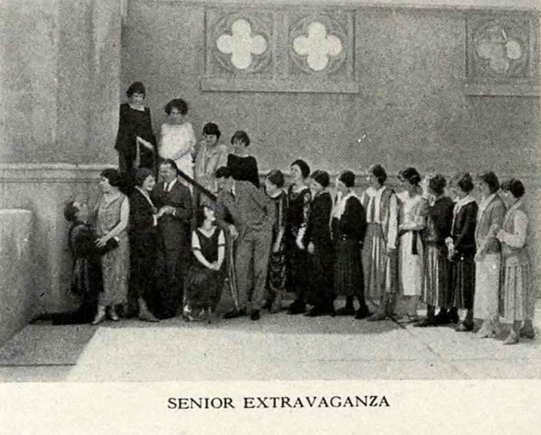 "Ursula played ""Ellen,"" one of three fair co-eds in ""But it Wasn't,"" the 1923 senior Extravaganza. I'm sure that Ursula, as one of the principal characters, is pictured in front as part of the three couples. It's difficult to tell if she is the first or second woman from the left (definitely not the third.) What do you think? (Click on photo to see enlarged image.)"