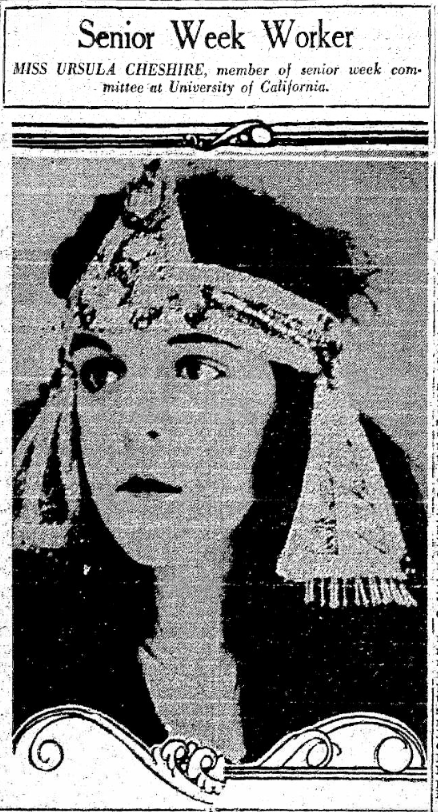 "A large photo of Ursula accompanied an article on Senior Week in the ""Oakland Tribune,"" February 13, 1923."
