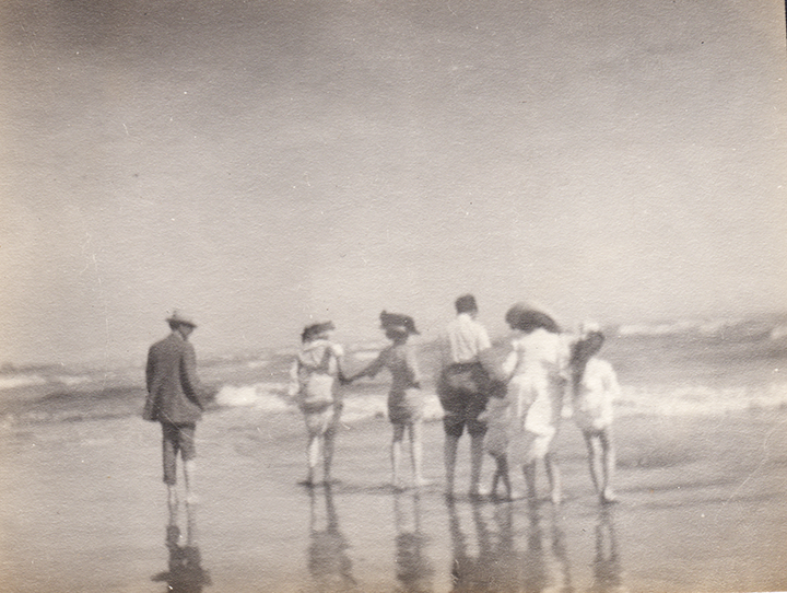 Left to right: At the beach with father Alfred, two aunts (most likely Mathilde and Jeannette), Uncle Charles, cousin Marion, mother Clara, and Ursula