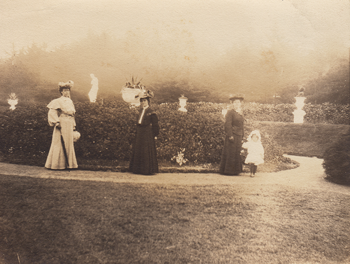 Left to right: Aunts Mathilde and Jeannette, mother Clara, and little Ursula. Golden Gate Park?