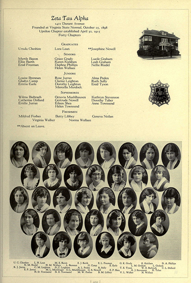 "Ursula is listed as a ""Graduate"" on the Zeta Tau Alpha page of the 1925 ""Blue and Gold"" yearbook, which covered the 1923-24 academic year."