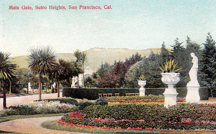 Main Gate, Sutro Heights, circa 1900s.  (Source: http://www.sanfranciscodays.com/)
