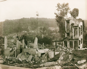 The remains of an apartment building at Euclid Avenue and Ridge Road, just a couple blocks from Zeta Tau Alpha house. (September 1923. Photo courtesy of Berkeley Public Library.)