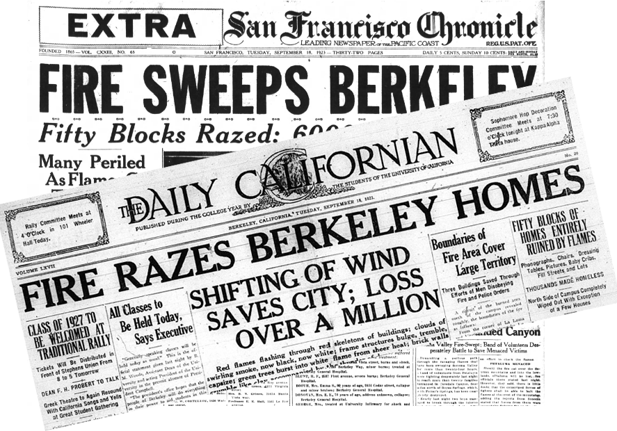 "The September 17, 1923 fire that swept down the hills to Berkeley was big news in the bay area. According to The Daily Californian, ""Beautiful homes, spacious fraternity houses, apartment blocks, and business structures were razed, leaving thousands of University students and townspeople homeless and destitute."""