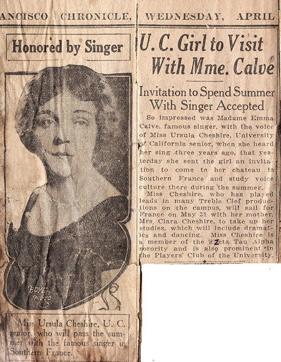 Newspaper article on Ursula going to France in 1924