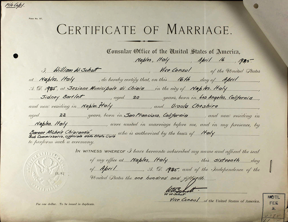 Ursula Cheshire Marriage certificate