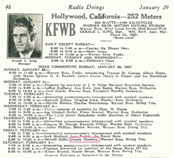 Hollywood AM radio station KFWB featured Ursula on its program in February 1927