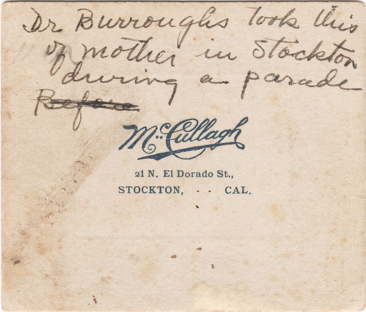Inscription on back of the photograph