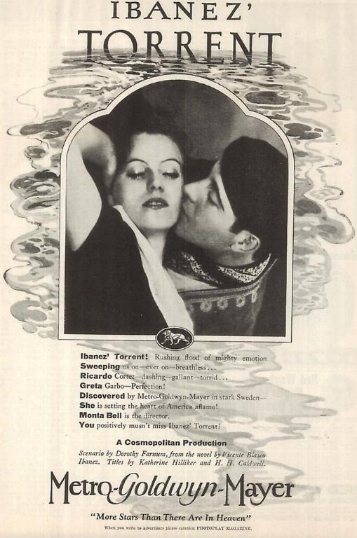 "Poster for Greta Garbo's first silent Hollywood film, ""Torrent,"" released in 1926"