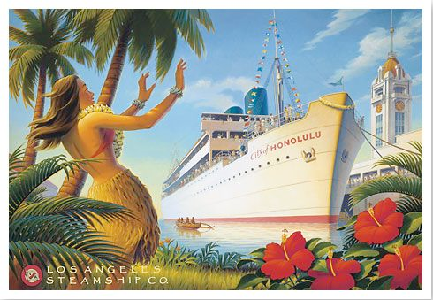 Illustration of the S.S. City of Honolulu arriving in Honolulu Harbor, with the Aloha Tower depicted on the right