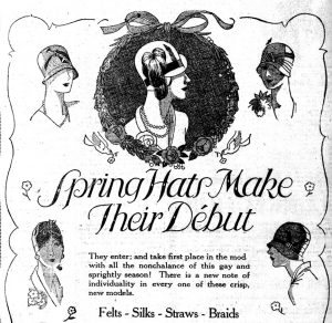 Ad for ladies hats 1928