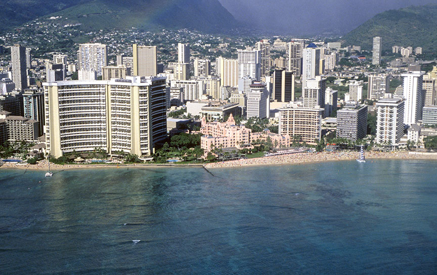 Modern Waikiki skyline with Royal Hawaiian hotel