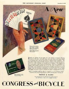 1928 playing card ad