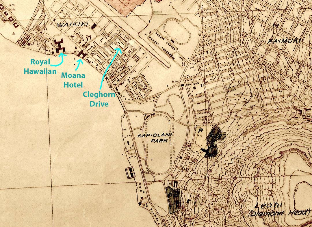 1928 Waikiki map