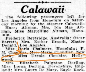 Calawaii passenger list January 5, 1929